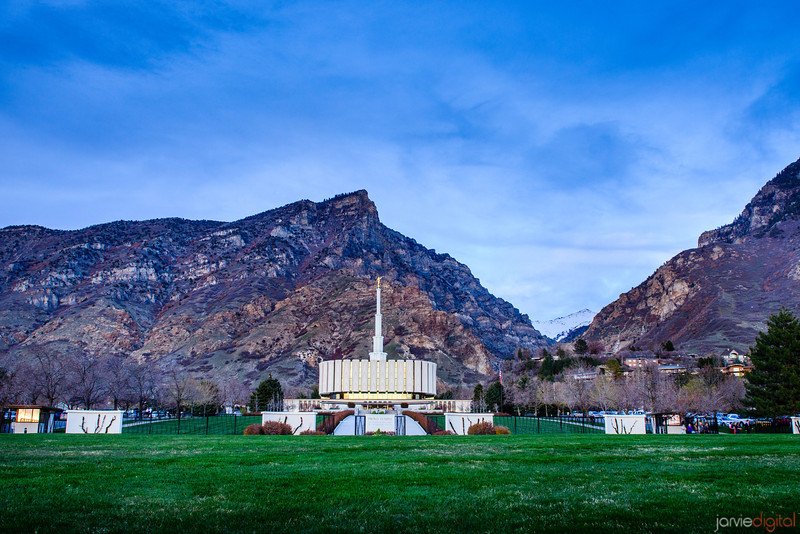 Provo Temple With Mountains