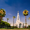 Redlands Temple and Palm Trees