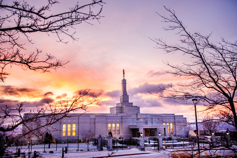 Reno Temple sunrise through trees