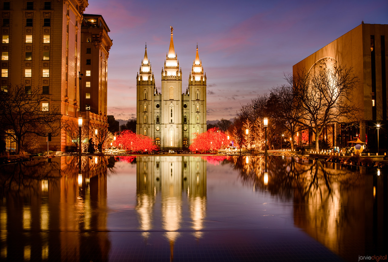 Salt Lake Temple - Christmas reflections