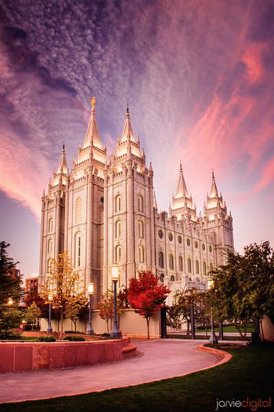 Salt Lake Temple Pink Sunrise