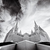 San Diego Temple BW looking up