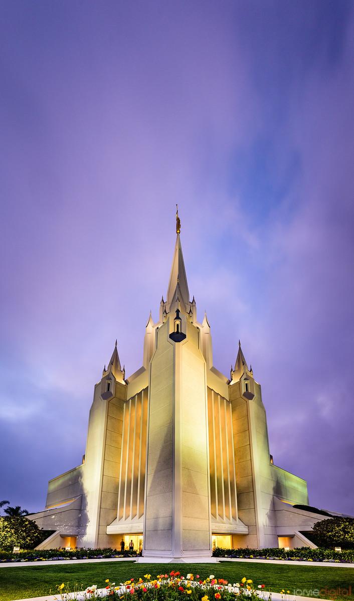 San Diego Temple - Twilight Vertical