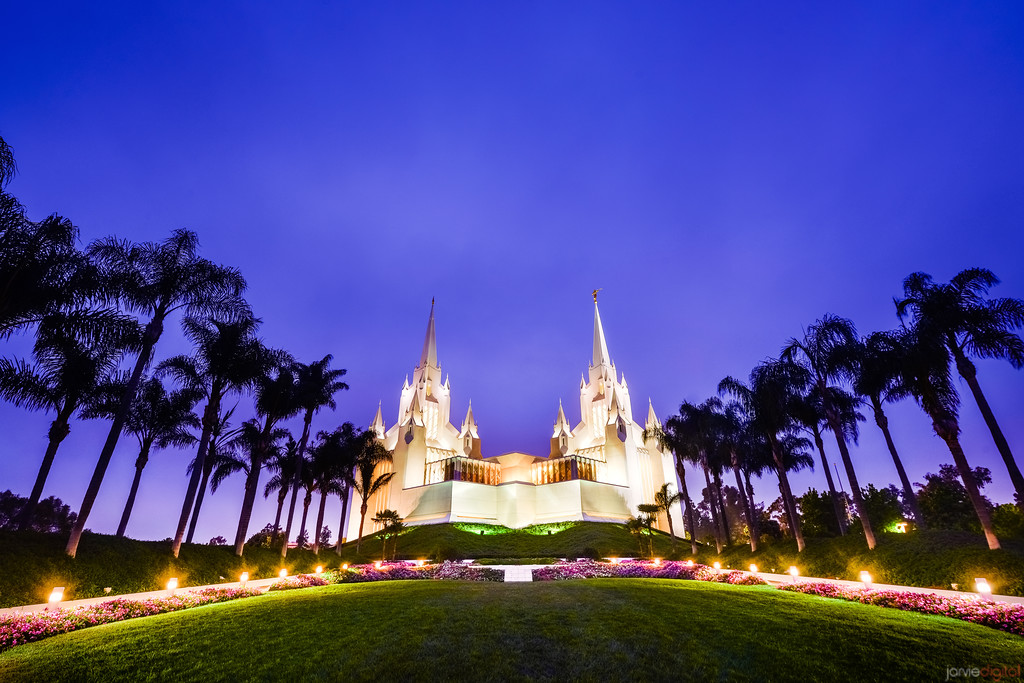 San Diego Temple Morning (Blue)