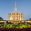 Seattle Temple Sunset with Flowers