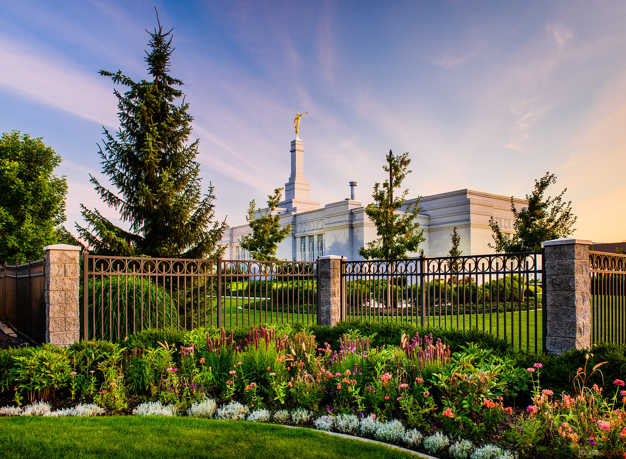 Spokane Temple - Flowers and Fence