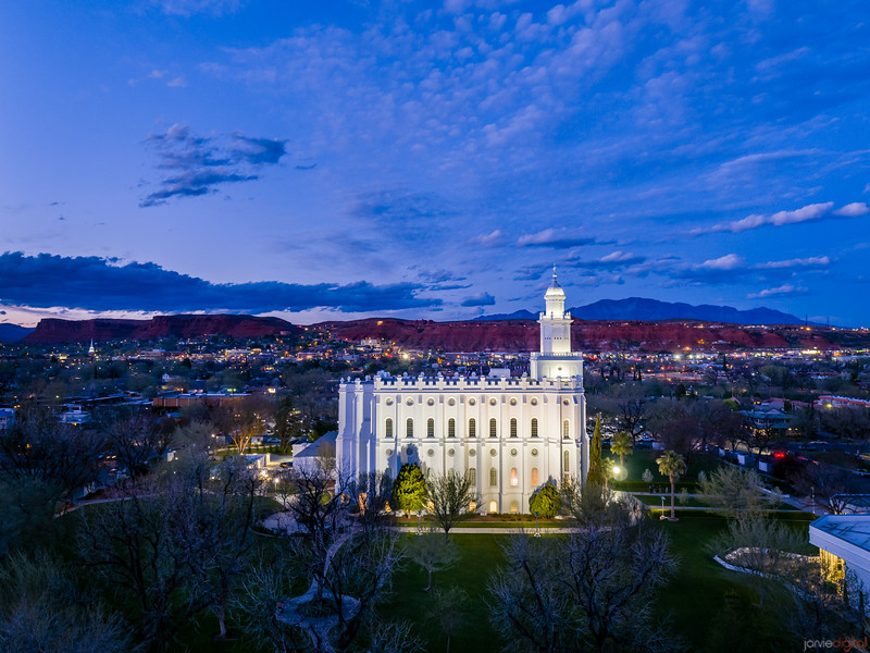 St George Temple Aerial Side Twilight