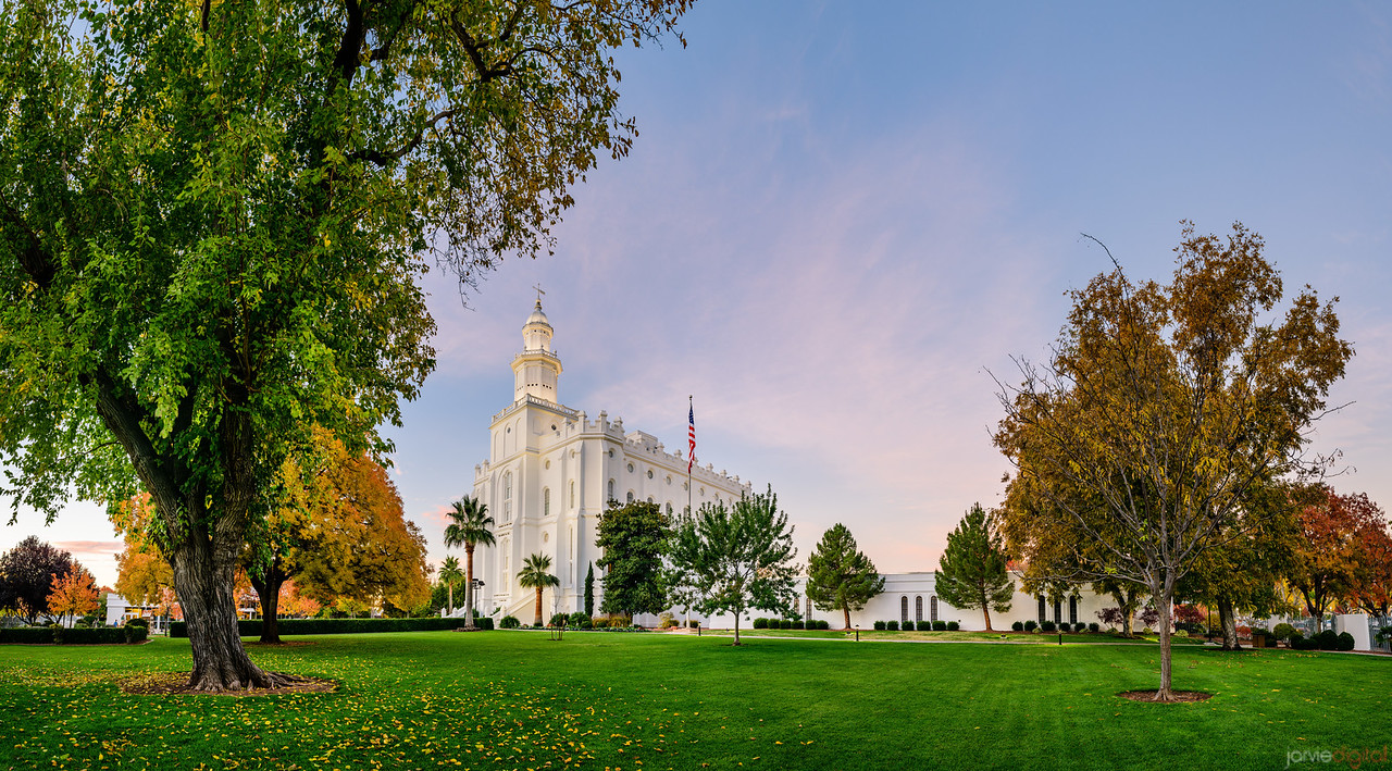 St George Temple - Green on Blue on Fall