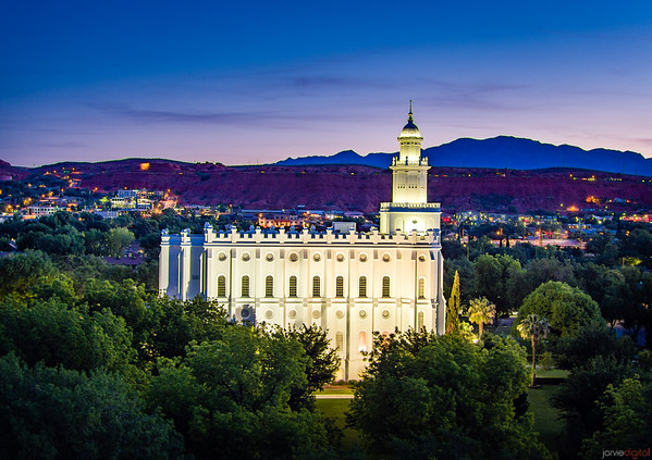 St George Temple - Twilight mountains