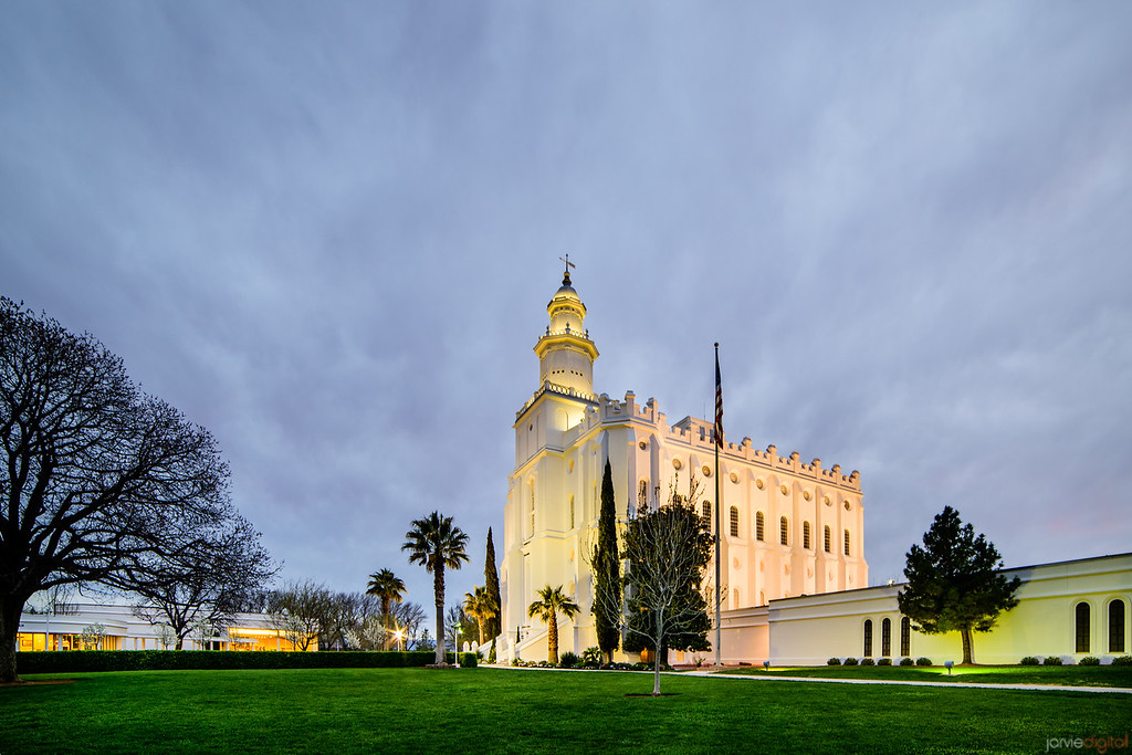 St George Temple Cloudy Twilight