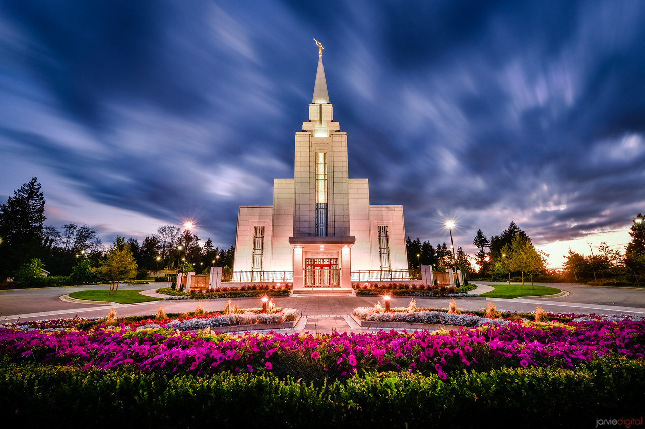 Vancouver Temple Twilight with Flowers