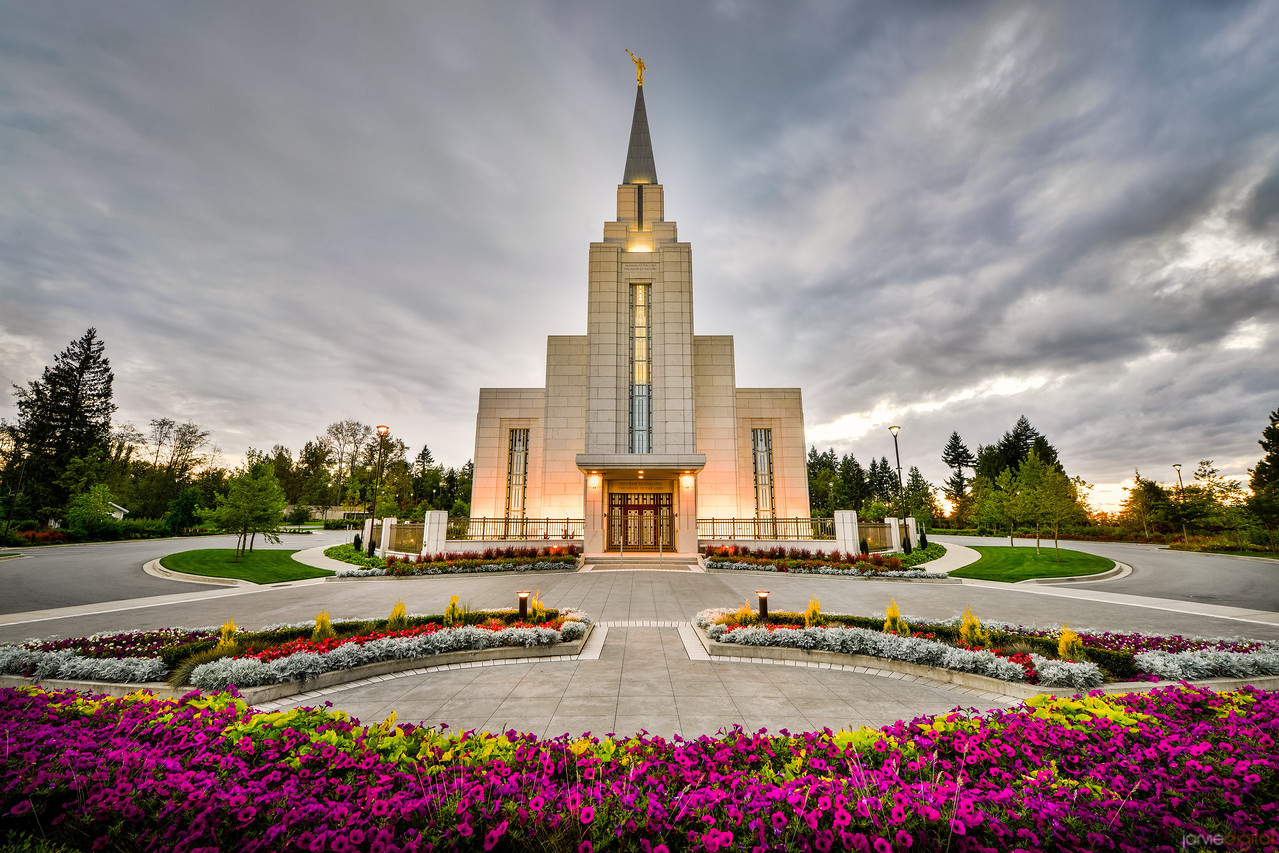 Vancouver Temple Sunset with Flowers