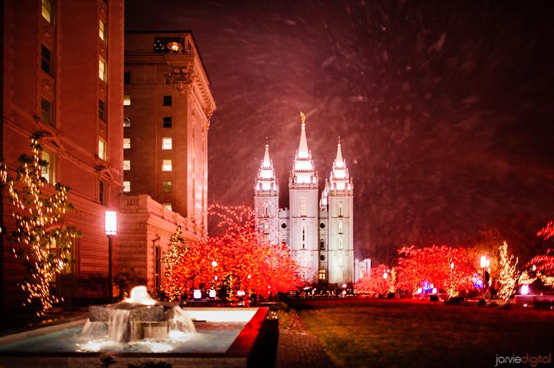 SLC Temple Snow
