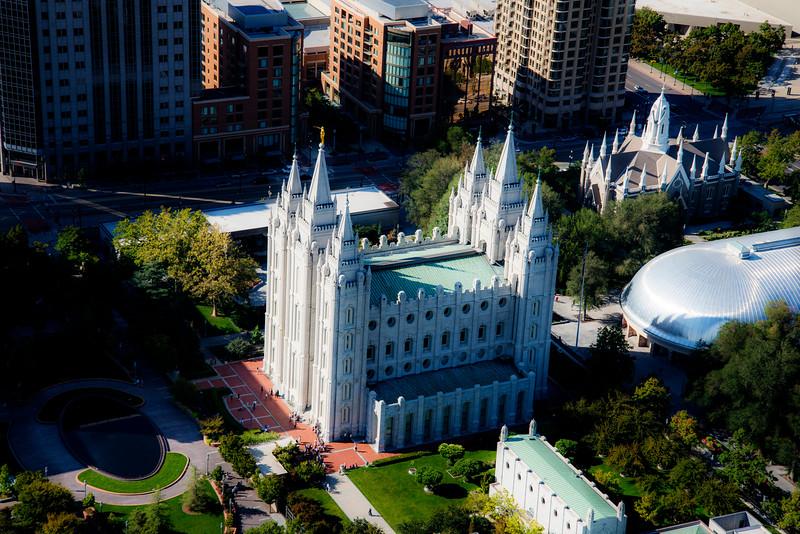 Arial view of the Temple Square in Salt Lake City, Utah