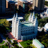 Arial view of the Temple Square in Salt Lake City, Utah