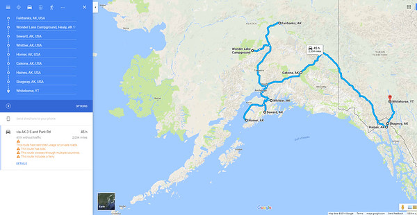 Alaska Adventure: Month Two Route