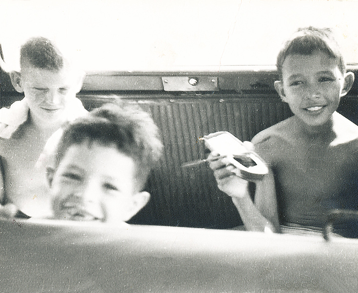 Sort ID: 1953-V01B Image ID: B006 (est) Year: 1953. Photo content: Harry,  Fred, Ed. Location of photo: Coming back from the beach, Cardon, Venezuela.