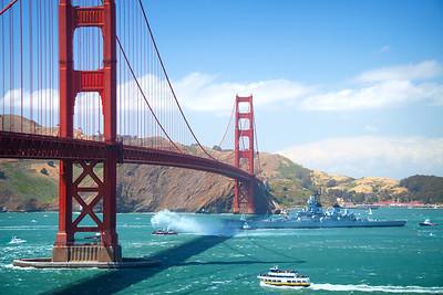 USS Iowa and The Golden Gate Bridge