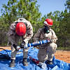 (FORT BENNING, Ga) Soldiers with the 11th Engineer Battalion train with the Fort Benning Fire Department and Columbus Search and Rescue on the Defense CBRNE (Chemical, Biological, Radiological, Nuclear, Explosives) Response Force, June 13, 2013 at Hershey Burrow Pit on Harmony Church. (Photo by Ashley Cross/MCoE PAO Photographer)