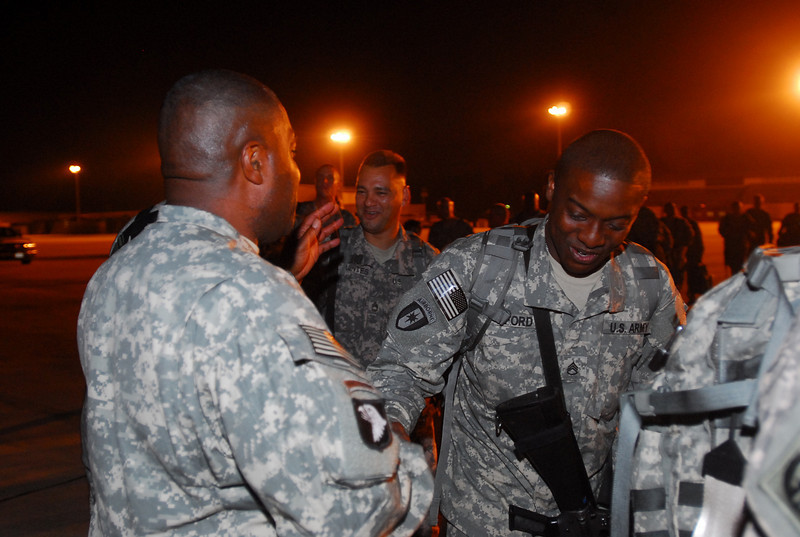 Kristin Molinaro<br /> CSM William Carver III shakese the hand of each Soldier boarding the aircraft bound for Iraq early Wednesday morning. The 14th Combat Support Hospital will be attached to the 1st Medical Brigade on the Victory Base Complex in Iraq. The troops will provide health care at two main detainee facilities in Baghdad and southern Iraq as well as an additional location in the Baghdad area. The split-based operation will give both detainees and coalition forces access to level one through level three health care.