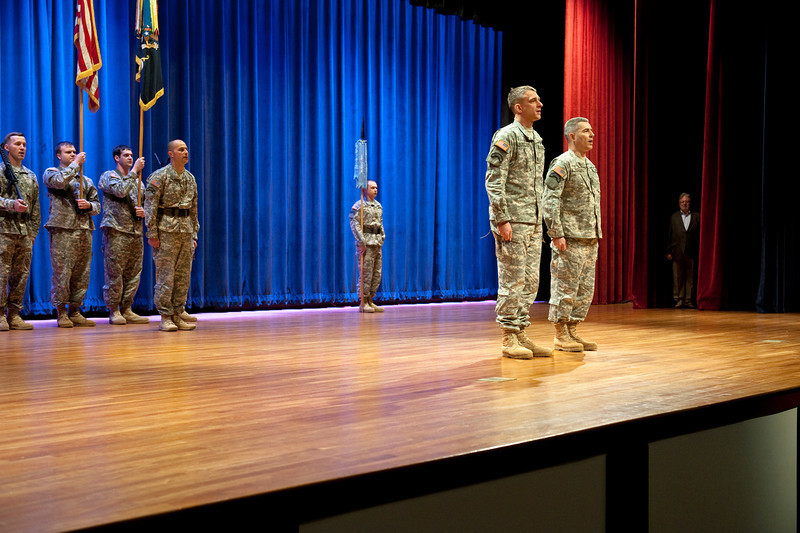 (FORT BENNING, Ga) Maj. Gen. H.R. McMaster, Soldiers, families and friends gather for the 75th Ranger Regiment Change of Responsibility Ceremony, March 07, 2014 in Marshall Auditorium.   (Photos by: Patrick A. Albright/MCoE Photographer)