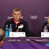 LONDON -- Sgt. Vincent Hancock, U.S. Army Marksmanship Unit, takes a question today during a U.S. Olympic Committee press conference for shooting at the Media Press Center at Olympic Park. Hancock and the rest of the Olympic athletes will officially open the games Friday night at Olympic Stadium as the opening ceremonies will kick off the XXX Olympiad.<br /> (Photo by Michael Molinaro, USAMU PAO)