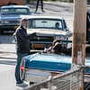 George Clooney directs Ben Afflek and the cast as they sit bnn a car on Boykston Street in Fitchburg. SENTINEL & ENTERPRISE/JOHN LOVE