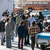 Ben Affleck in blue mask along with his fellow actgors get ready to film a scene on Cane Street in Fitchburg. SENTINEL & ENTERPRISE/JOHN LOVE