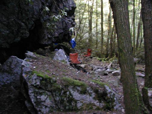 First visit to Camp Crud . It was scary as shit. We left quickly.  Stuff was everywhere. Drugs. Drug paraphernalia. Trash.<br /> Camping gear just abandoned.  I was expecting to find a dead body any moment. <br /> Slopes of Starr Mtn.  Cherokee National Forest, TN