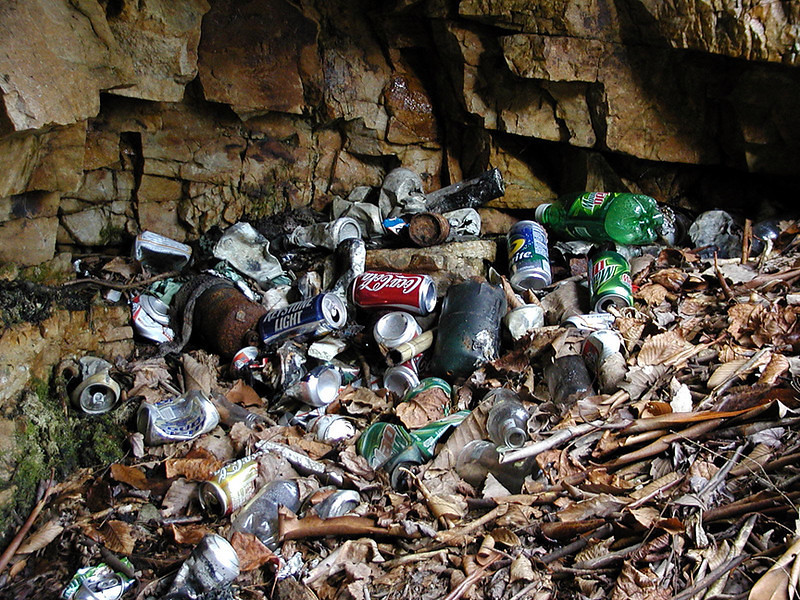 Trash at Camp Crud.. which lies between Bullett Creek and Lower Yellow Creek Falls. It has since been cleaned up.<br /> Slopes of Starr Mtn.  Cherokee National Forest, TN