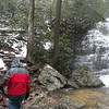 Kenny starting back across the creek and up from Benton Falls. Trying to get a good photo today with snow, sleet, and mist from the falls was unreal, but we were the only persons here!
