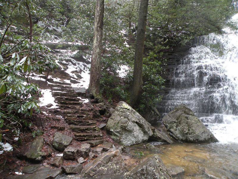 Stone steps leading to Benton Falls