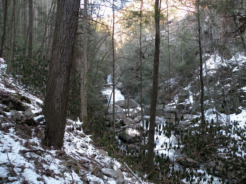 First glimpse of the waterfalls on Rock Creek