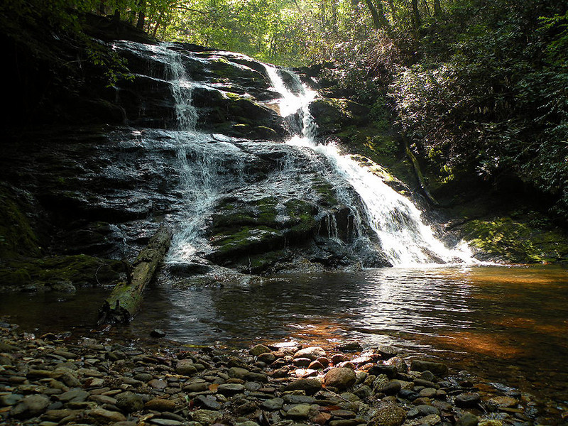 Best view of Tallassee Falls. This photo shows the pebble beach by the plunge pool.