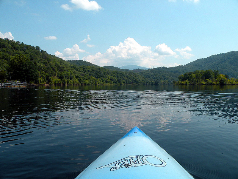 Beautiful view of the lake from across the bow of my kayak.
