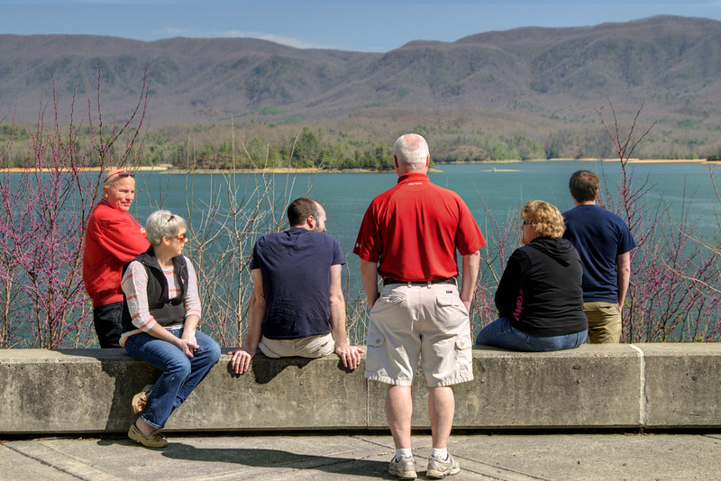 A couple of families enjoy a warm Spring day at the South Holston Dam Recreation Area in Bristol, TN on Saturday, April 5, 2014. Copyright 2014 Jason Barnette