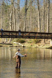 A man enjoys fly fishing in the low waters of the South Fork of the Holston River at the Osceola Island & Weir Dam Recreation Area in Bristol, TN on Saturday, April 5, 2014. Copyright 2014 Jason Barnette