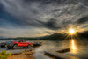 The sun sets as people pull their boats out of the water at South Holston Lake near Bristol, TN on Sunday, April 29, 2012. Copyright 2012 Jason Barnette