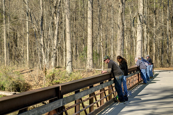 People enjoy the view from a footbridge crossing the South Fork of the Holston River at the Osceola Island & Weir Dam Recreation Area in Bristol, TN on Saturday, April 5, 2014. Copyright 2014 Jason Barnette