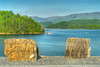 The view of a pontoon boat on the lake from the South Holston Dam near Bristol, TN on Sunday, April 29, 2012. Copyright 2012 Jason Barnette