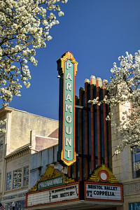 The historic Paramount Theater is surrounded by brilliant white blooming trees on State Street in Bristol, TN on Saturday, April 5, 2014. Copyright 2014 Jason Barnette