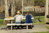 A couple enjoy lunch after a few hours of fishing at the Osceola Island & Weir Dam Recreation Area in Bristol, TN on Saturday, April 5, 2014. Copyright 2014 Jason Barnette