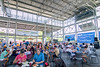 People enjoy a meal from the food truck vendors at the Chattanooga Market at the First Tennessee Pavilion in Chattanooga, TN on Sunday, July 19, 2015. Copyright 2015 Jason Barnette