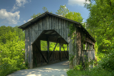 One of two wooden bridges on the Daniel Boone Greenway, a former railroad converted into a multi-use trail, in Cumberland Gap, TN on Saturday, May 9, 2015. Copyright 2015 Jason Barnette
