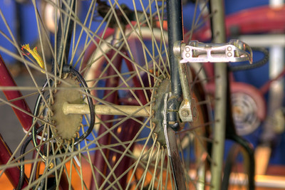 The spokes of an 1895 Penny Farthing bicycle at the Little Congress Bicycle Museum in Cumberland Gap, TN on Friday, June 12, 2015. Copyright 2015 Jason Barnette