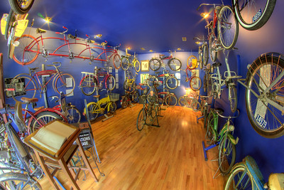 Interior view of the one room Little Congress Bicycle Museum in Cumberland Gap, TN on Friday, June 12, 2015. Copyright 2015 Jason Barnette