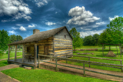 A replica of the log home sits where Davy Crockett was born at Davy Crockett Birthplace State Park in Limestone, TN on Monday, May 7, 2012. Copyright 2012 Jason Barnette