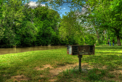 A charcoal grill with a view of the Nolichucky River at Davy Crockett Birthplace State Park in Limestone, TN on Monday, May 7, 2012. Copyright 2012 Jason Barnette