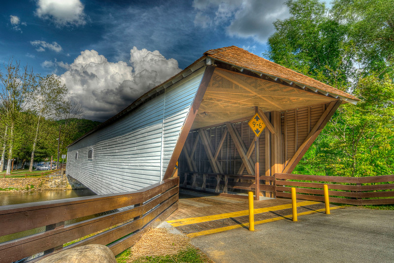 The Covered Bridge, built in 1882 and one of the few remaining covered bridges in the state across the Doe River in downtown Elizabethton, TN on Sunday, May 6, 2012. Copyright 2012 Jason Barnette