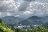 Stormy clouds linger over the city and obscure Mount Le Conte in Gatlinburg, TN on Sunday, August 4, 2013. Copyright 2013 Jason Barnette